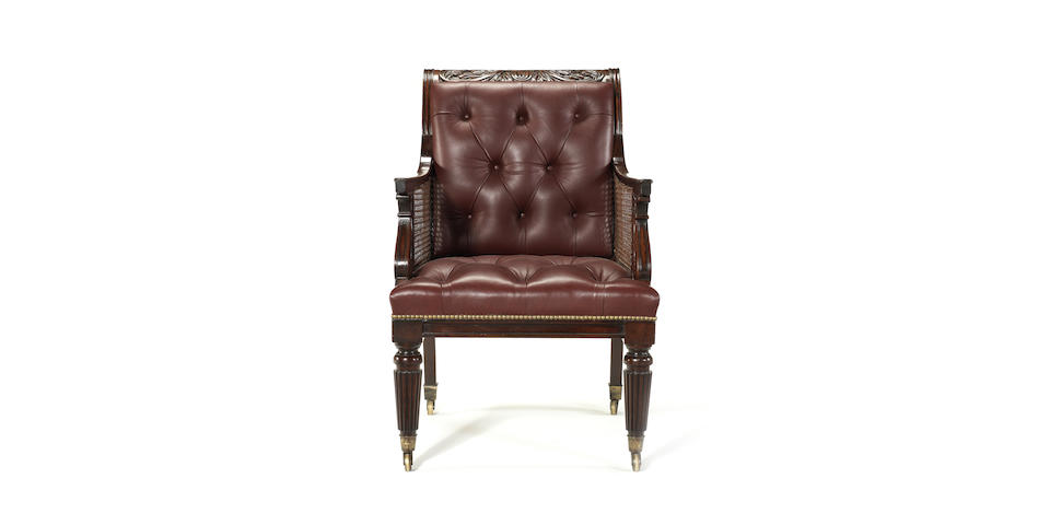 A Regency Scottish mahogany bergere attributed to William Trotter