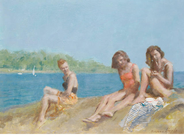 Norman Hepple (British, 1908-1994) Girls on a beach