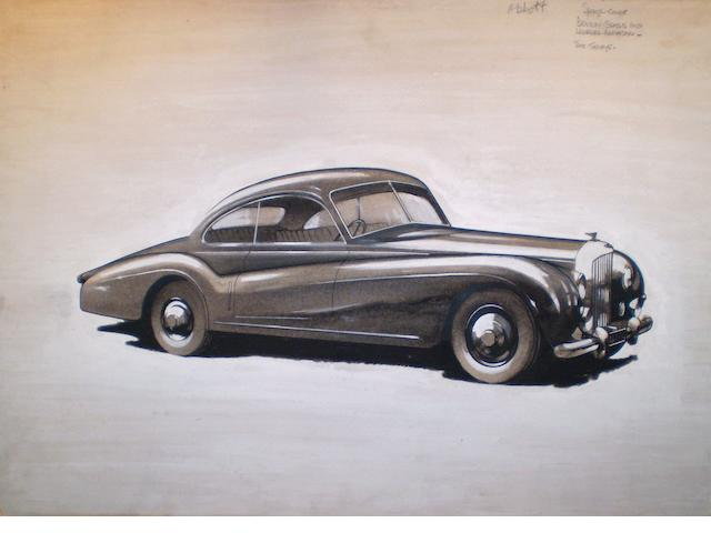 An illustration for 'The Motor' of the Ex 1952 Motor Show first Abbott-bodied Bentley Sports Coupe prototype,