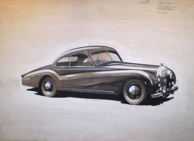 An illustration for 'The Motor' of the Ex 1952 Motor Show first Abbott-bodied Bentley Sports Coupe,