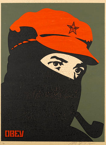 Shepard Fairey (b.1970) Comandante 1, 2, 3 and 4 Each: signed, dated 2002 and inscribed AP; signed, dated and inscribed AP on the reverse four screenprints on board Each: 61 by 46 cm. 24 by 18 1/8 in. Overall: 122 by 92 cm. 48 1/16 by 36 1/4 in.