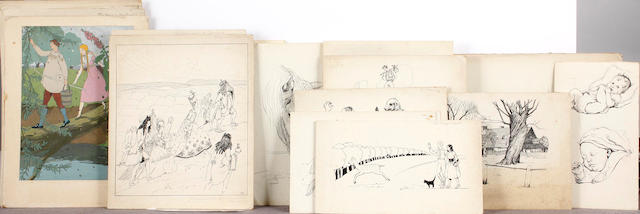 Phyllis Jerrold A collection of drawings for book illustrations: various sizes,