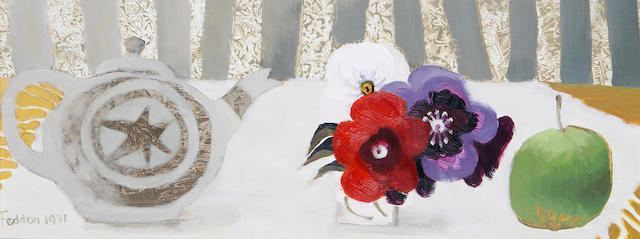 Mary Fedden R.A. (British, born 1915) The Teapot 20 x 51 cm. (8 x 20 in.)