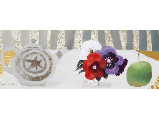 Mary Fedden R.A. (British, born 1915) The Teapot 20 x 51 cm. (8 x 20 in.)