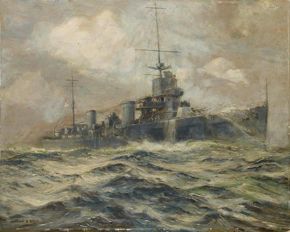 Montague Birrell Black (British, born 1884) The battle cruiser H.M.S. Indefatigable steaming at speed  unframed