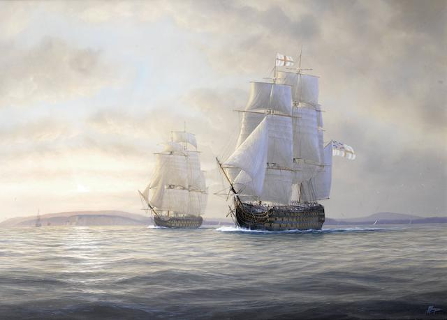 Timothy Franklin Ross Thompson (British, born 1951) H.M.S. Victory and Agamemnon cruising in company off the coast