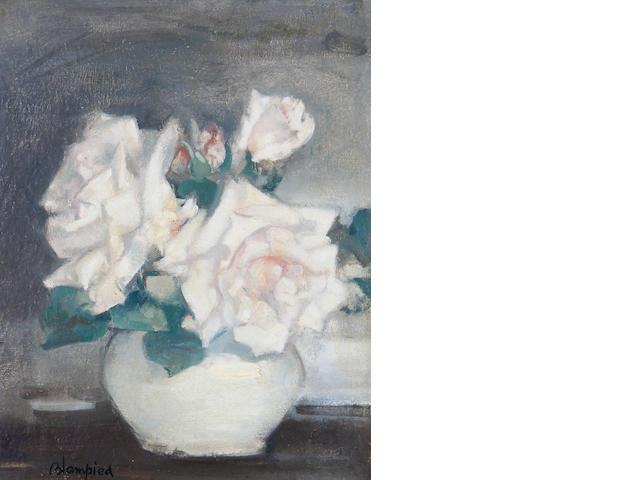 Edmund Blampied (British, 1886-1966) White roses in a vase