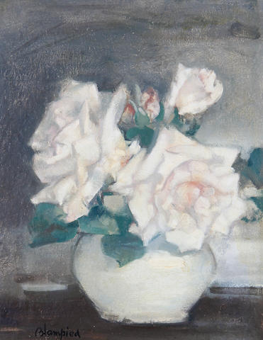 Edmund Blampied (British, 1886-1966) White roses in a vase