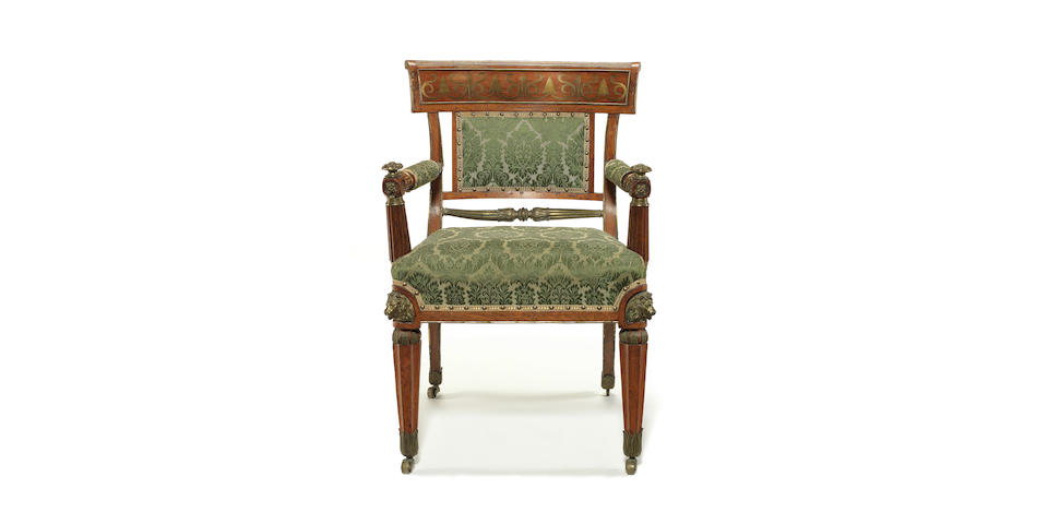 A Regency mahogany and brass inlaid open armchair attributed to R.Edmundson & Sons