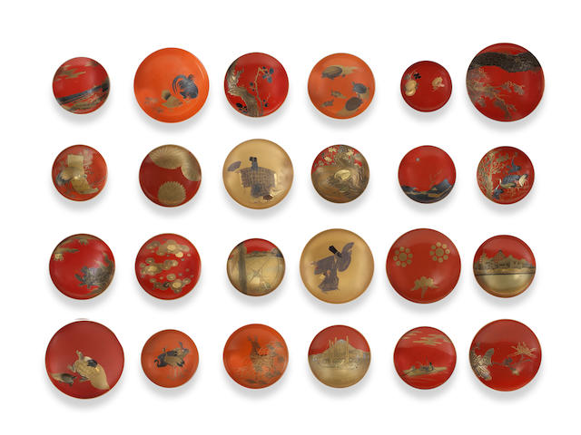 Twenty-five various lacquer sakazuki (sake cups) Late 19th century