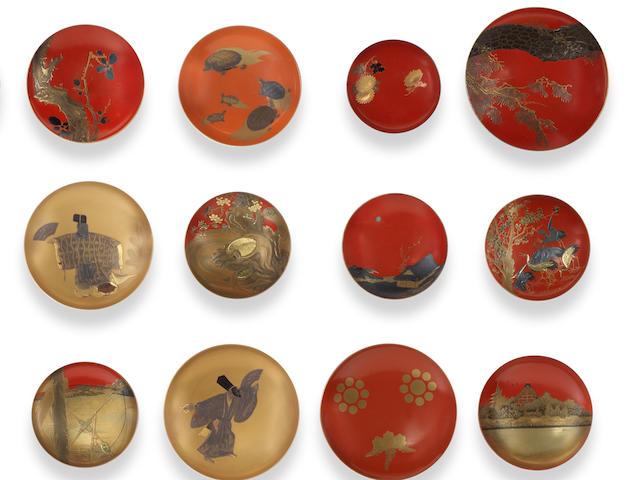 Twenty-five various lacquer sakazuki (sake cups) Late 19th century