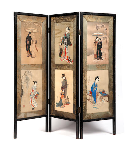 A Japanese small ebonised three fold screen  Circa 1900