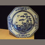 A Chinese blue and white dish, Qianlong