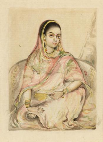 A courtesan seated against a bolster in an interior Delhi, circa 1810-20