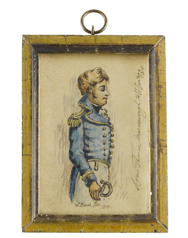 William Russell Birch (British/American, 1755-1834) Commander Thomas MacDonough (1783–1825), standing, profile to the right, wearing white trousers, blue coat with gold buttons, piping and epaulettes, white frilled chemise and black stock, the hilt of his sword at his right hand