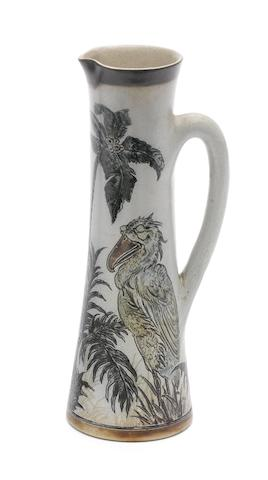 Martin Brothers a Stoneware Jug with Two Grotesque Birds