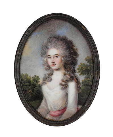 R. Hig(g)s (British, active 1786-1796) Miss Blackburn, wearing white dress with cerise sash, her powdered hair worn long and curling over her shoulders, landscape background