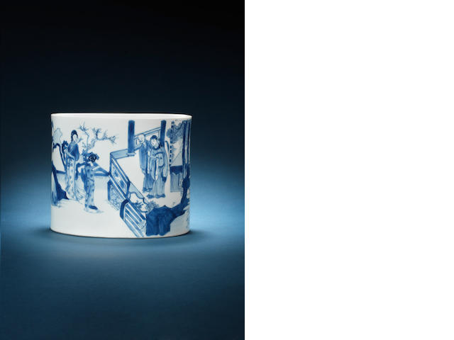 A blue and white cylindrical brush pot, bitong Kangxi