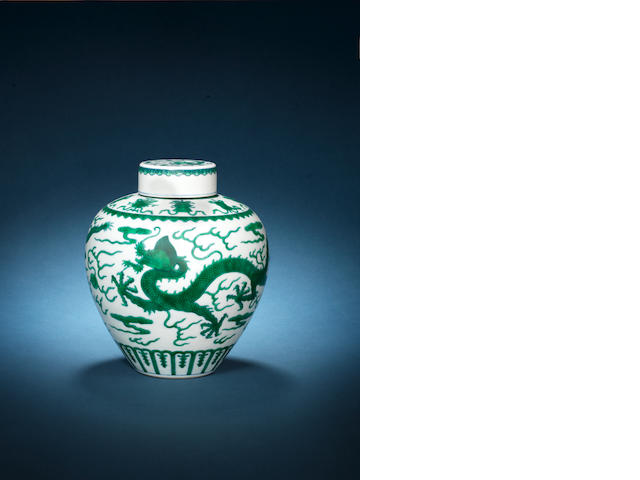 A 'green dragon' jar and cover Qianlong seal mark and of the period