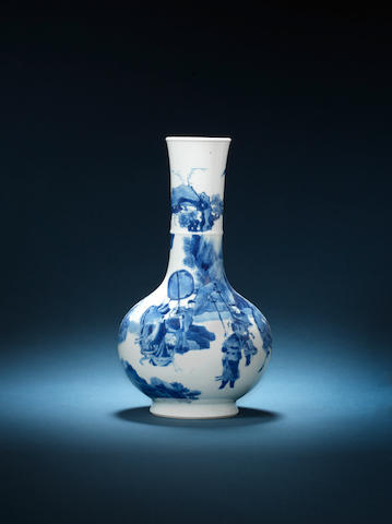 A blue and white pear-shaped vase Chenghua six-character mark, Kangxi