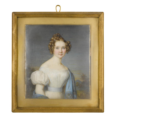 Johann Michael Holder (German, 1796-1861) A Lady, wearing white dress with short bouffant sleeves, pale blue sash, cerulean blue stole embroidered with paisley designs and draped over her left shoulder and right arm, her golden hair parted at the front and curled in tight ringlets, the back plaited and upswept