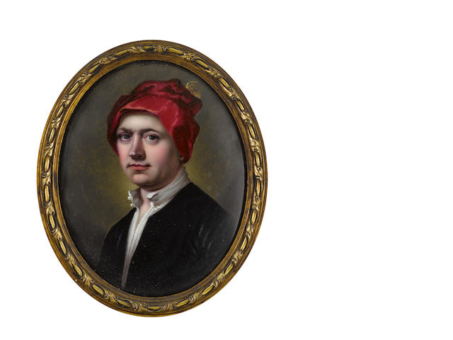 Henry Spicer, FSA (British, 1743-1804) George Mercer, wearing black coat, white chemise and red cap with gold plume