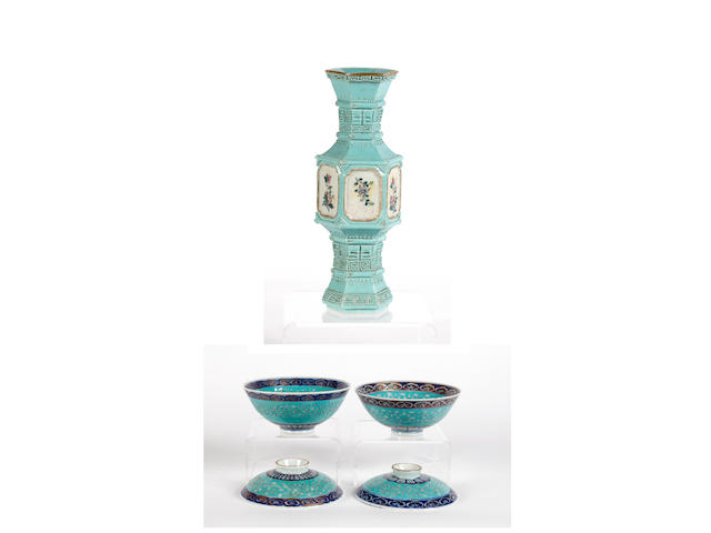 A Turquoise ground small vase, Qianlong mark and a pair of Turquoise ground rice bowls and covers, Qianlong marks.