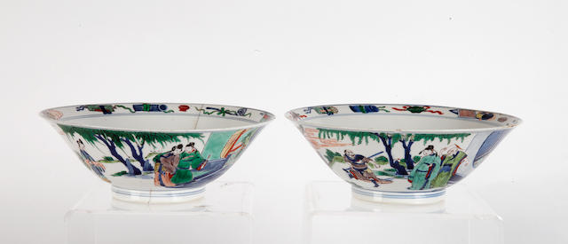 A pair of Wucai conical bowls, 20cm diameter.
