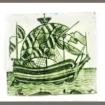 William De Morgan  'Galleon'  Green Glazed Tile