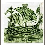 William De Morgan 'Galleon' a Green Glazed Tile