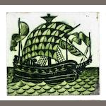 William De Morgan a Galleon Gree Glazed Tile