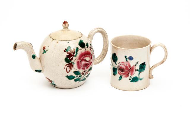 A Staffordshire saltglaze mug and a teapot and cover, circa 1765-70