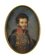 Circle of Jean-Baptiste Isabey (French, 1767-1855) An Officer, wearing green jacket with gold lace and tassels on cords strapped across his chest, red standing collar with gold trim, gold cross belt with black belt plate in the form of a shield, red braids to his waist fastened by gold bands, his black cloak draped over his left shoulder and trimmed with gold braid and black fur