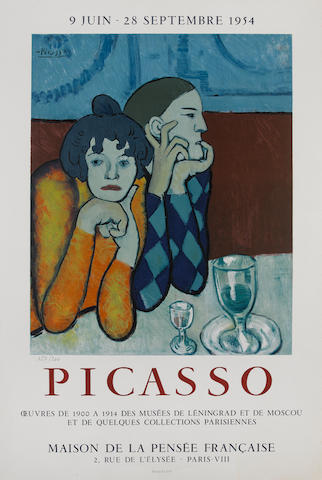 After Pablo Picasso (Spanish, 1881-1973) Maison de la Pensée - Oeuvres de 1900-1914 des musées de Leningrad Lithographic poster, 1954, printed in colours, on Arches, numbered 157/200 in pencil, printed by Mourlot, 725 x 483mm (28 1/4 x 19in)(SH) unframed
