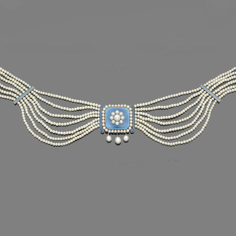An early 20th century enamel and seed pearl choker,