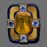 A yellow fire opal, sapphire and enamel rectangular brooch