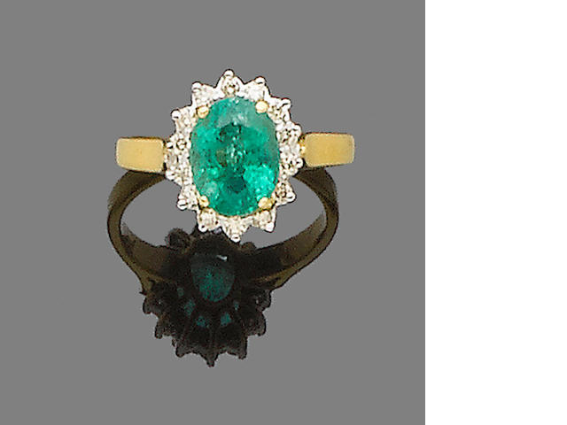An emerald and diamond earring, pendant and ring suite  (3) (partially illustrated)