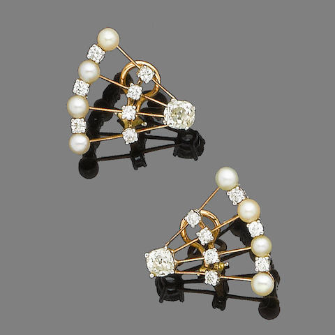 A pair of diamond and pearl earrings