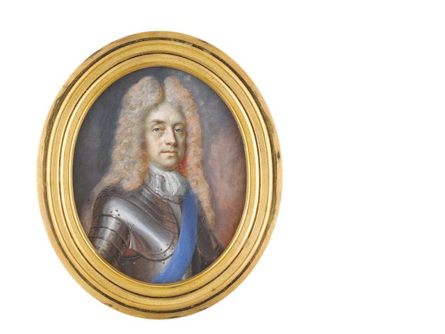 Benjamin Arlaud (Swiss, circa 1670-after 1731) James Butler, 2nd Duke of Ormonde KG KT (1665–1745), wearing armour, white stock and lace cravat, blue sash of the Order of the Garter, long curled wig