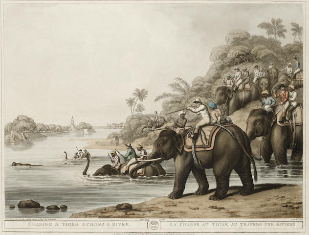 WILLIAMSON (THOMAS) and SAMUEL HOWITT A Tiger Prowling Through A Village; Shooting at the Edge of a Jungle; and 4 other hand-coloured aquatints, 1805-1806 (6)