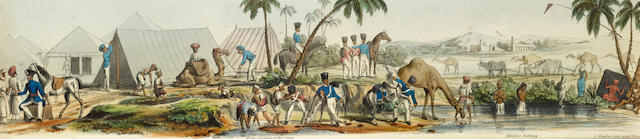 BENGALI ARMY - PANORAMA [LUDLOW (WILLIAM ANDREW) Bengal Troops on the line of March. A Panoramic Sketch, 8 hand-coloured lithographs, [1835]