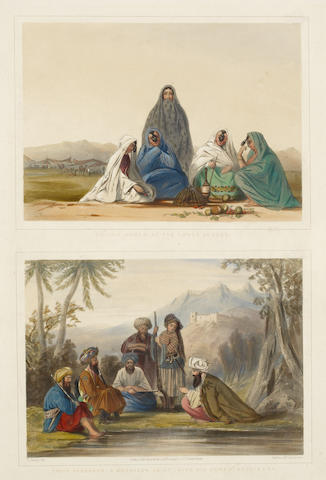 AFGHANISTAN RATTRAY (JAMES) Ghiljie Women, of the Lower Orders. Khoja Padshauh, a Ko-i-Staun Chief, with his Armed Retainers, 2 hand-coloured lithographs, 1848; and 2 others (3)