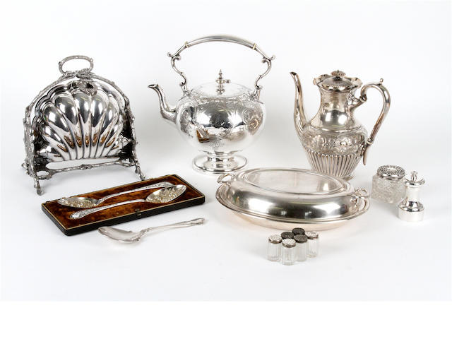 A collection of electroplated wares
