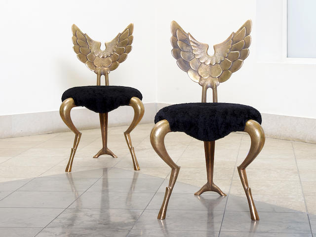 Mark Brazier Jones, A Pair of Angel Chairs dated 2003  Each: engraved Mark Brazier Jones 2003 on the inside leg (i): engraved 9/50  (ii): engraved 10/50 polished bronze Height: 97 cm. 38 3/16 in.