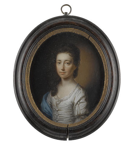 English School, circa 1730 Catherine Pawson (née Fairfax) (1701-1767), wearing white dress, slashed at her sleeve to reveal her white chemise, white buttons to her bodice and sleeve, blue stole draped over her right arm, her brown hair upswept and falling before her right shoulder