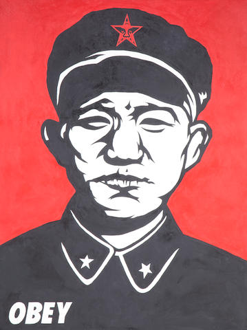 Shepard Fairey (b.1970) Chinese Soldier signed and dated 97 on the reverse acrylic on canvas 91.5 by 122 cm. 36 by 48 1/16 in.