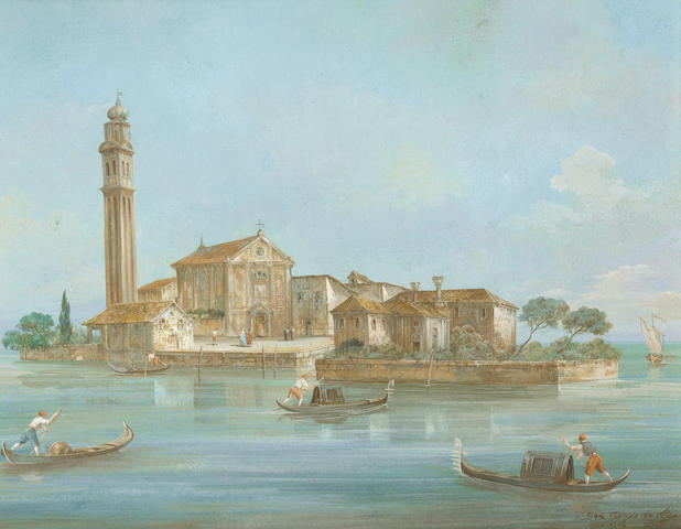 Venetian School, 18th Century A view of San Giorgio in Alga, Venice; A view of San Francesco del Deserto, Venice (2)