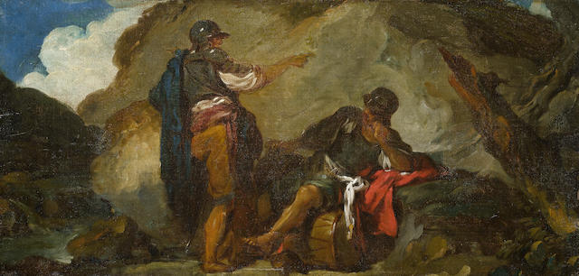 Manner of Salvator Rosa A group of soldiers resting unframed