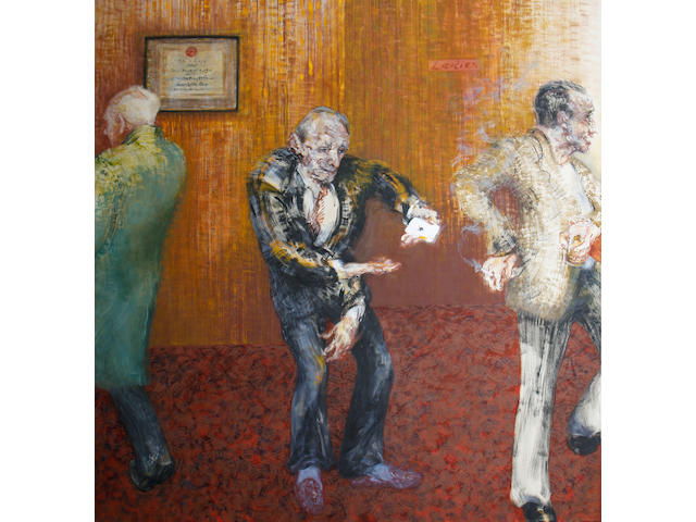 Maggi Hambling (British, born 1945) Card trick at the North Pole pub - Clapham