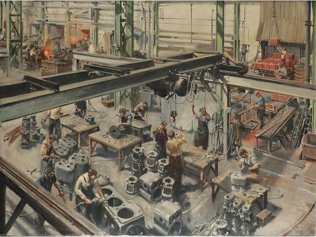 Terence Cuneo (British, 1907-1996) Broomyard factory